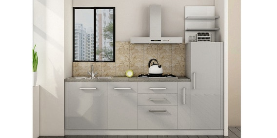 Buy Spacewood Straight Kitchen In Hdmr Glossy Mdf Finish In Silver