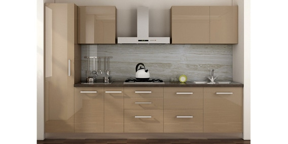 Buy Spacewood Straight Kitchen In Ply Glossy Mdf Finish In