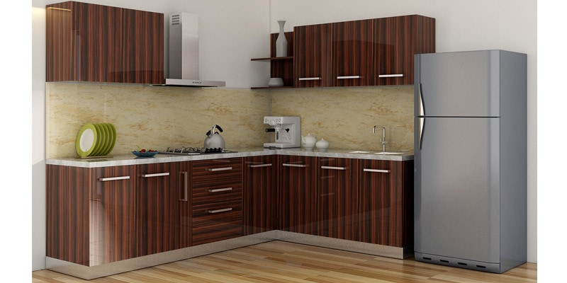 Buy Spacewood L Shape Kitchen In Ply Acrylic Finish In Brown Color Online L Shaped Modular Kitchen Modular Kitchens Furniture Pepperfry Product