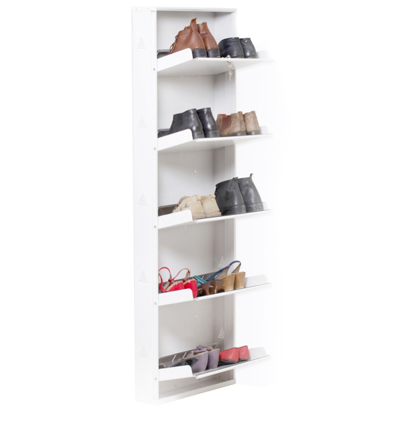Space Saving Wall Mounted Five Shelf Shoe Rack In White