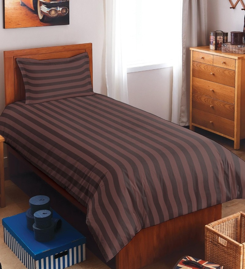 Spaces Chocolate 100% Cotton Sky Rise Single Bed Sheet With 1 Pillow Cover