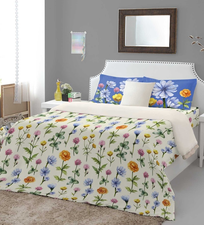 Multicolour 100% Cotton Courtyard King Bed Sheet Set by Spaces