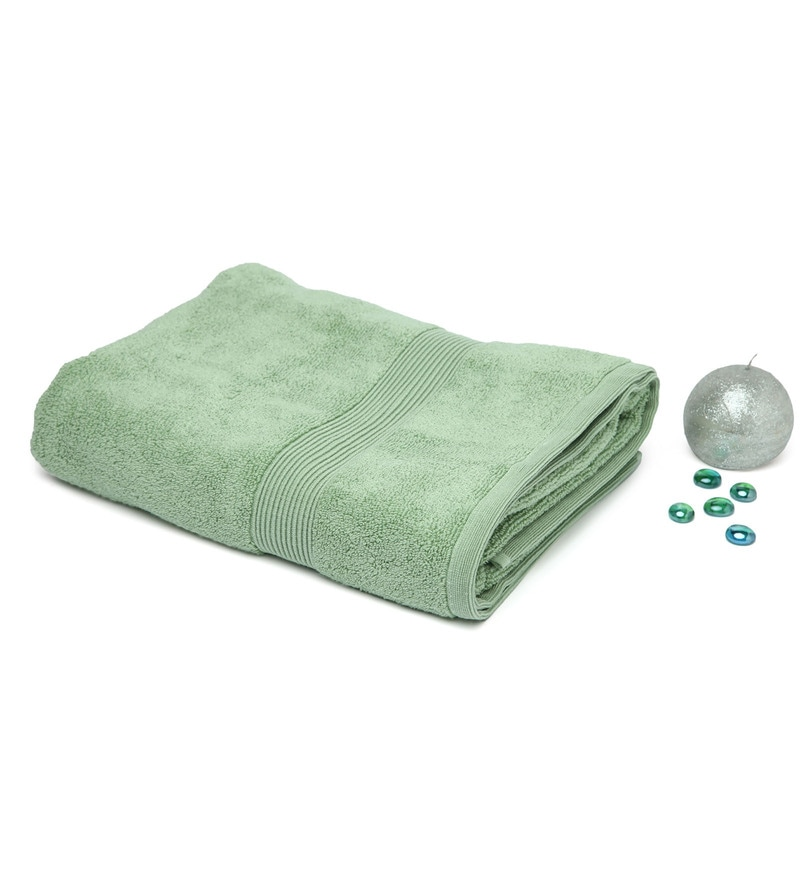 Green 100% Cotton 30 x 60 Inch Zero Twist Towel by Spaces