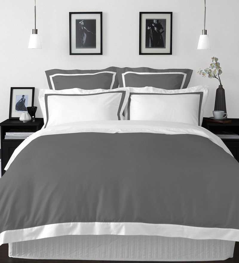 Grey 100% Cotton Hygro King Bed Sheet Set by Spaces