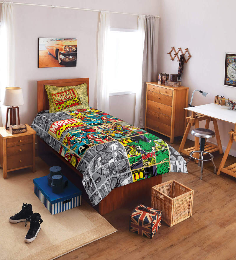 Marvel Comics Multicolour Single Bedsheet - Set of 2 by Spaces