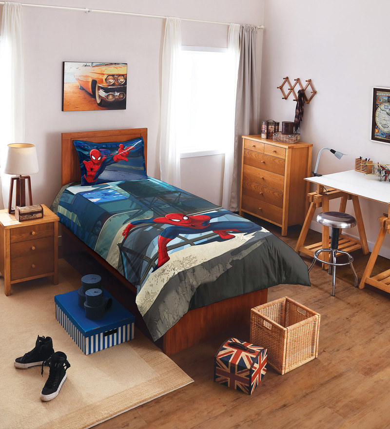 Marvel Spiderman Blue Single Bedsheet with 1 Pillow Cover by Spaces
