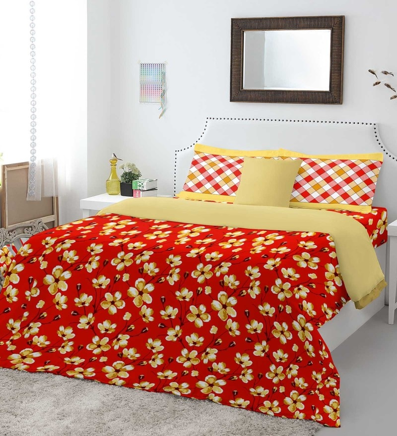 Red 100% Cotton Allure Queen Bed Sheet Set by Spaces