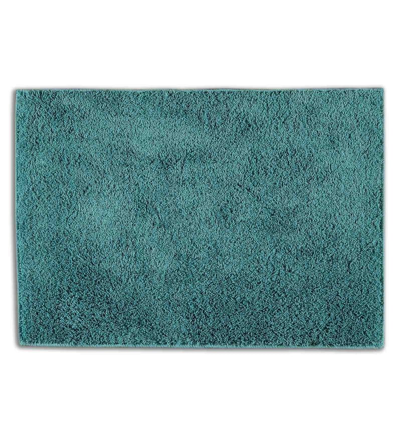 Teal 100% Cotton 19 x 32 Inch Exotica Bath Mat by Spaces