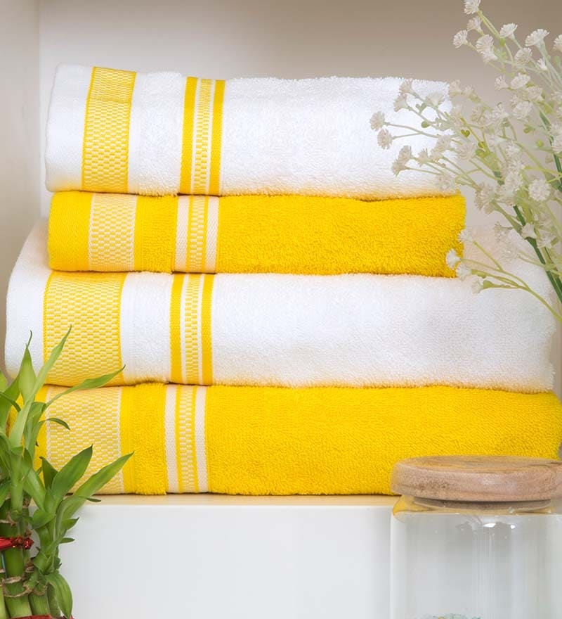 Bath Towel Sets Black And White: Buy Yellow & White 4-piece Bath Towel Set By Spaces Online