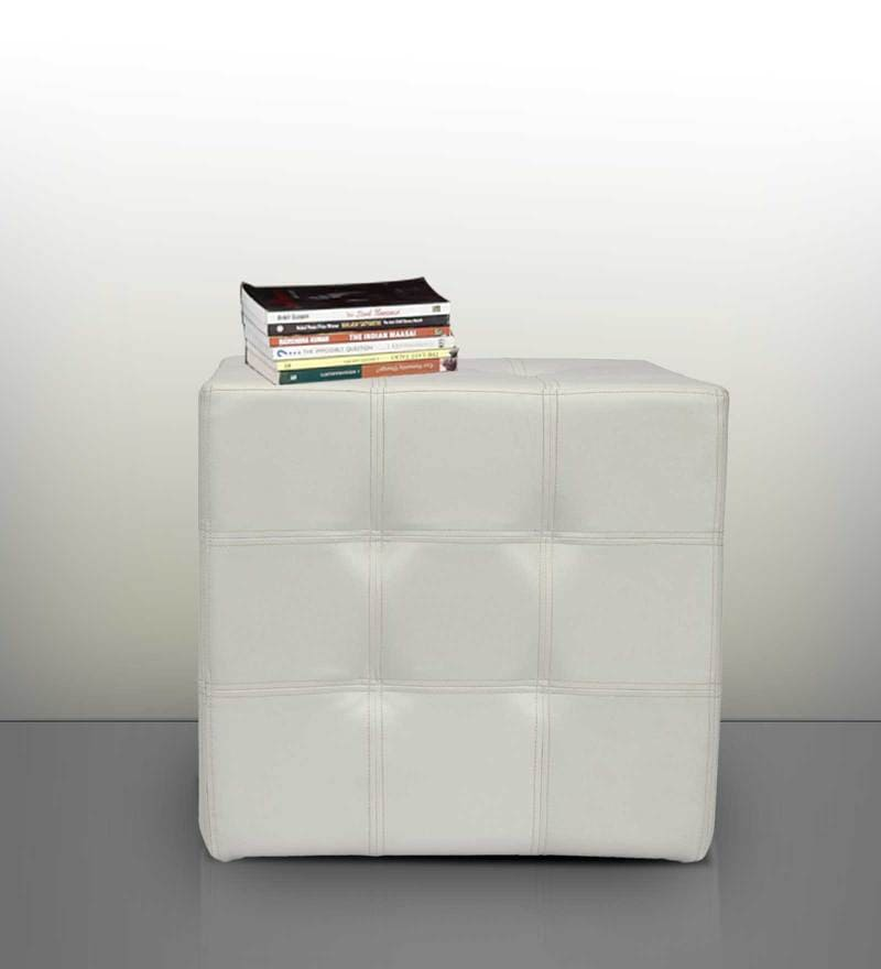 Spazio Classic Tufted Ottoman in White Colour by SIWA Style