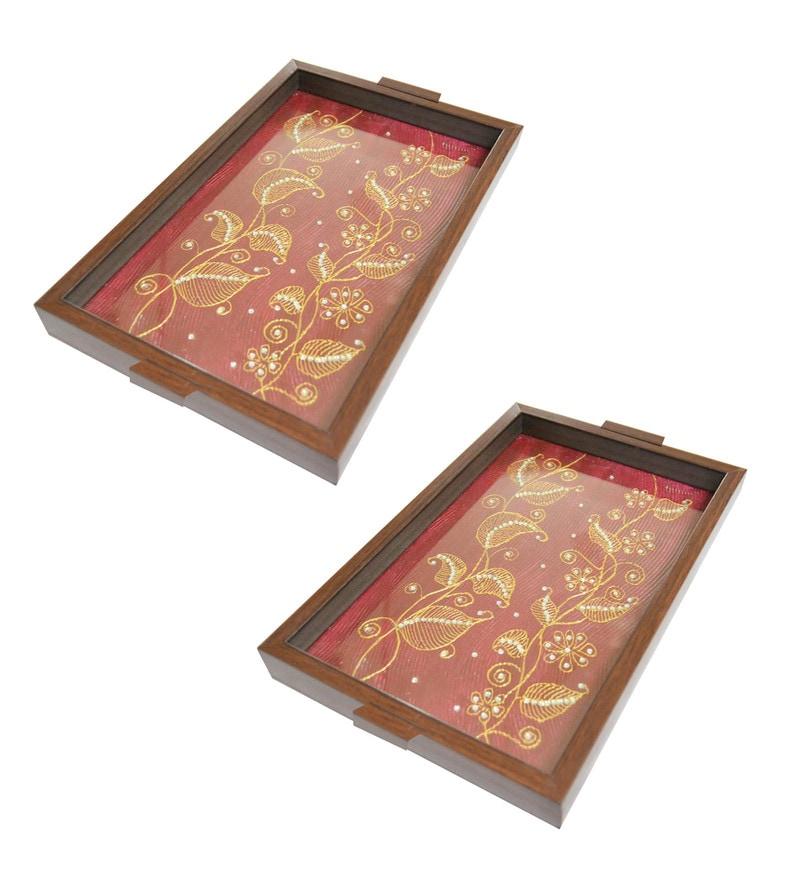Spectrahut Designer Red Acrylic Serving Trays - Set of 2