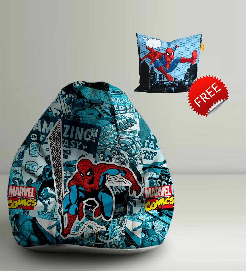 Spiderman Comics Digital Printed Bean Bag XXL Filled with Beans by Orka(With Small - cushion Inside)
