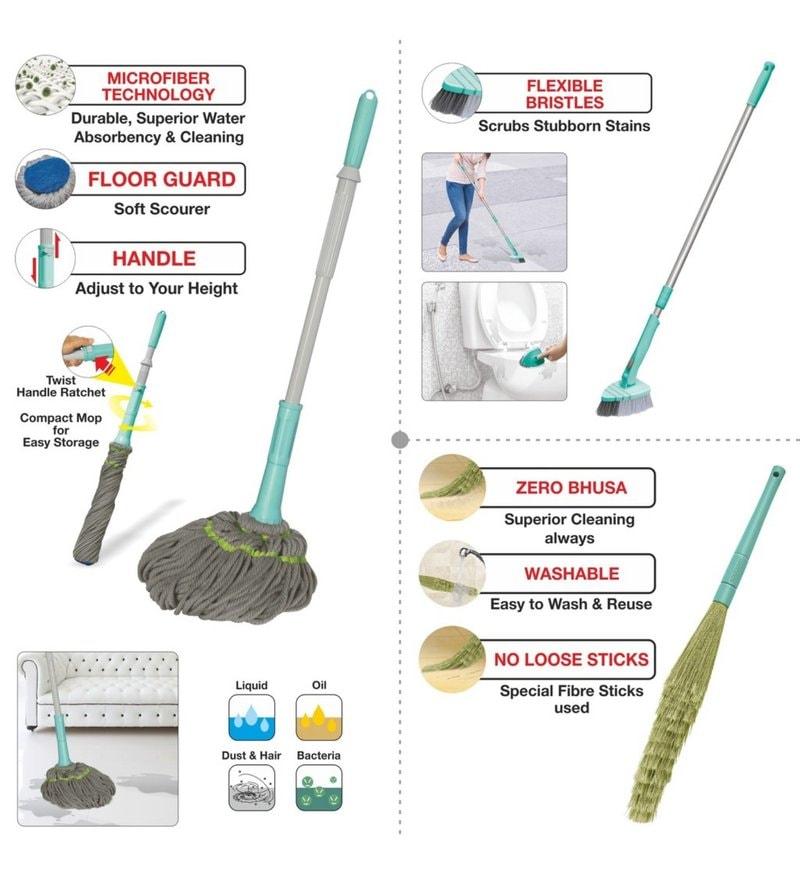 Spotzero Zero Dust Broom with Cleaning Mop & Floor Cleaning Brush - Set of 3