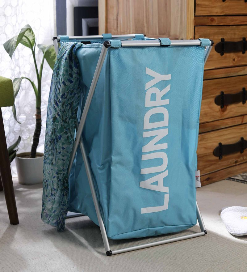 Spread Aluminium Framed Polyester 60 L Sky Blue Laundry Basket