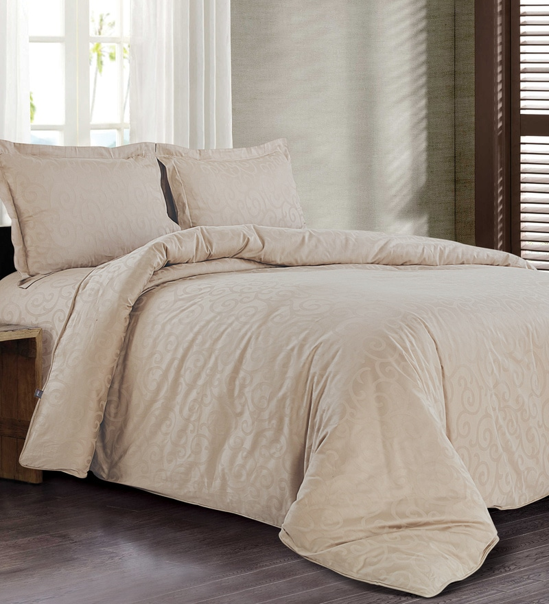 Beige 100% Cotton Double Size Duvet Cover by Spread