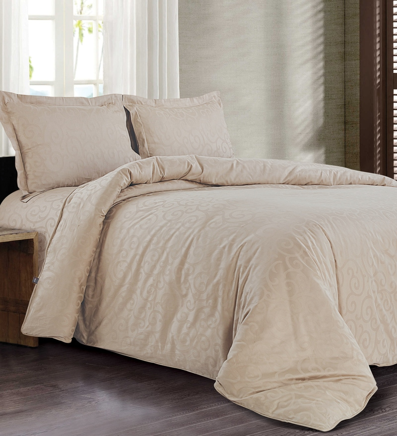 Beige 100% Cotton Single Size Duvet Cover by Spread