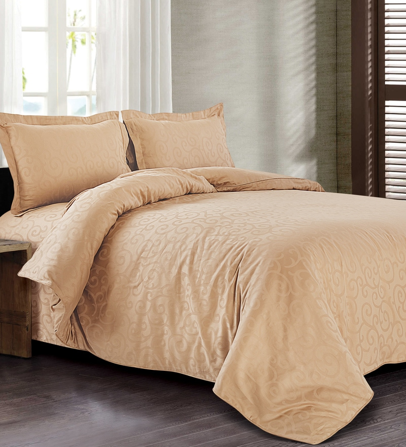Brown 100% Cotton Double Size Duvet Cover by Spread