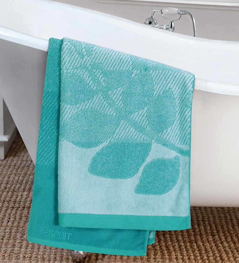 Leaves Blue Cotton Hand Towel by ESPRIT