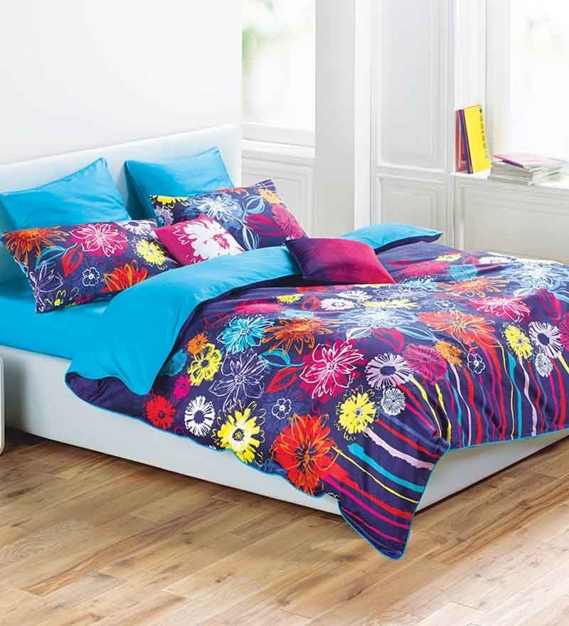 Floating Flowers Multicolour 100% Cotton Abstract Bed Sheet by Esprit Home