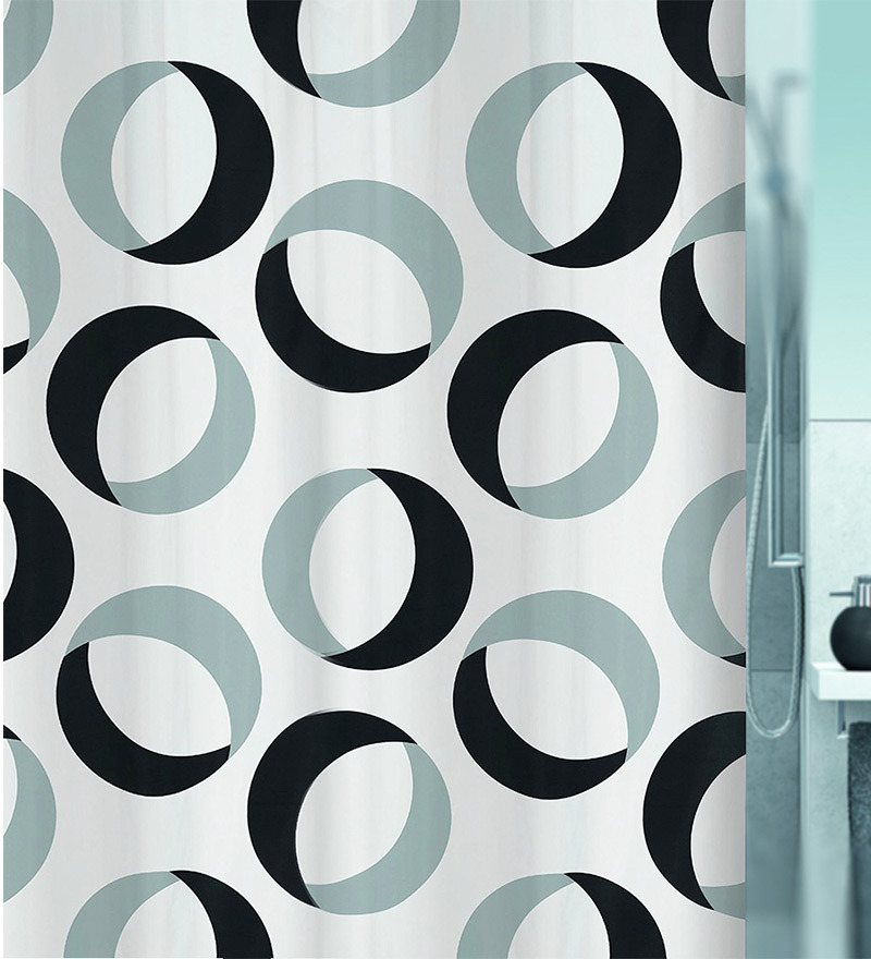Gray & Black Polyester Shower Curtain by Spirella