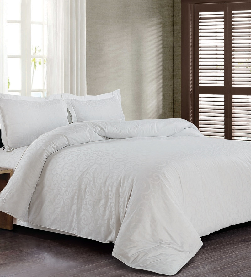 White 100% Cotton King Size Bed Sheet - Set of 3 by Spread