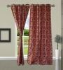 Welhome Peach Polyester 48 x 84 Inch Abstract Door Curtain