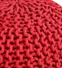 Spin Knitted Cotton Pouffe in Red Colour by Purplewood