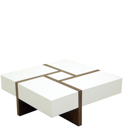 Buy Square Coffee Table With Drawer Storage In White Brown Colour