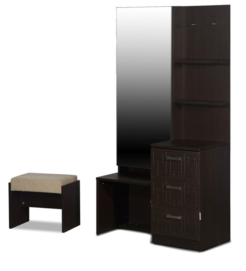 Buy Squadro Premium Dressing Table With Stool In Cinammon
