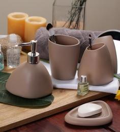 SS Silverware Brown Ceramic Bathroom Accessories   Set Of 4
