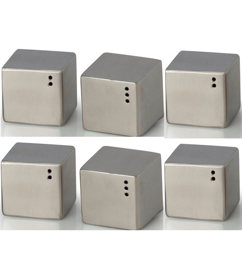 SS Silverware Cube 60 ML Steel Salt and Pepper - Set of 6