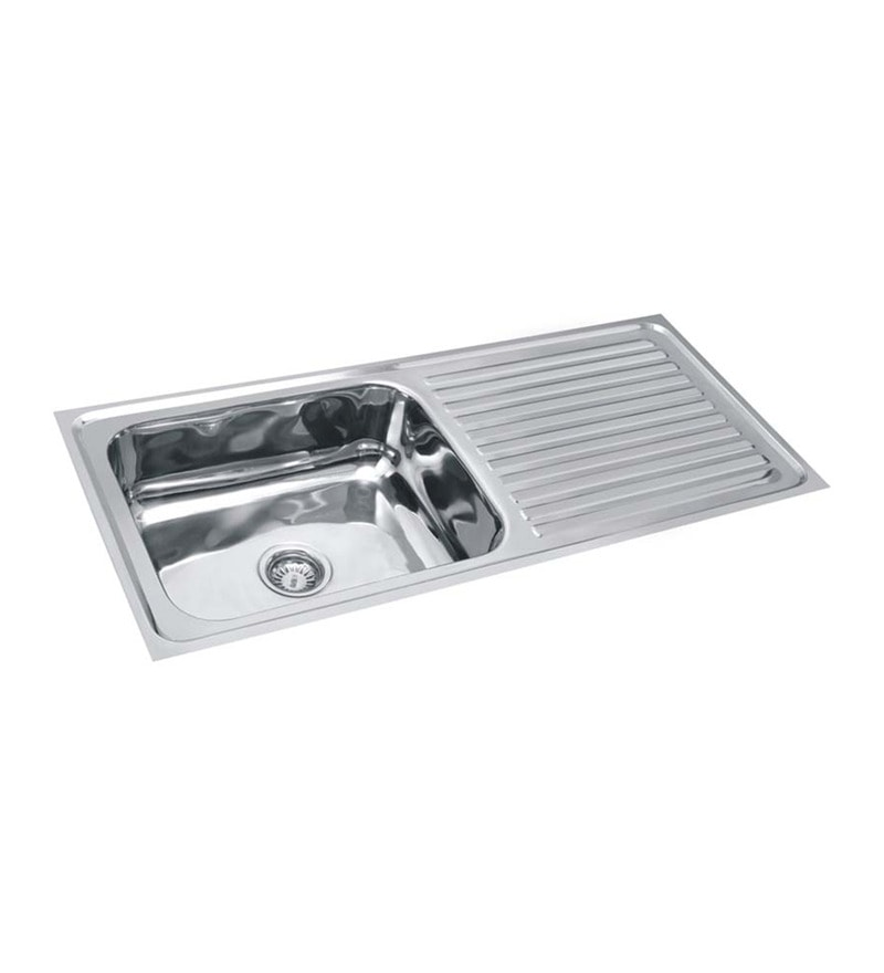 SS Silverware Stainless Steel Single Bowl Kitchen Sink With Drainer    SS IN K