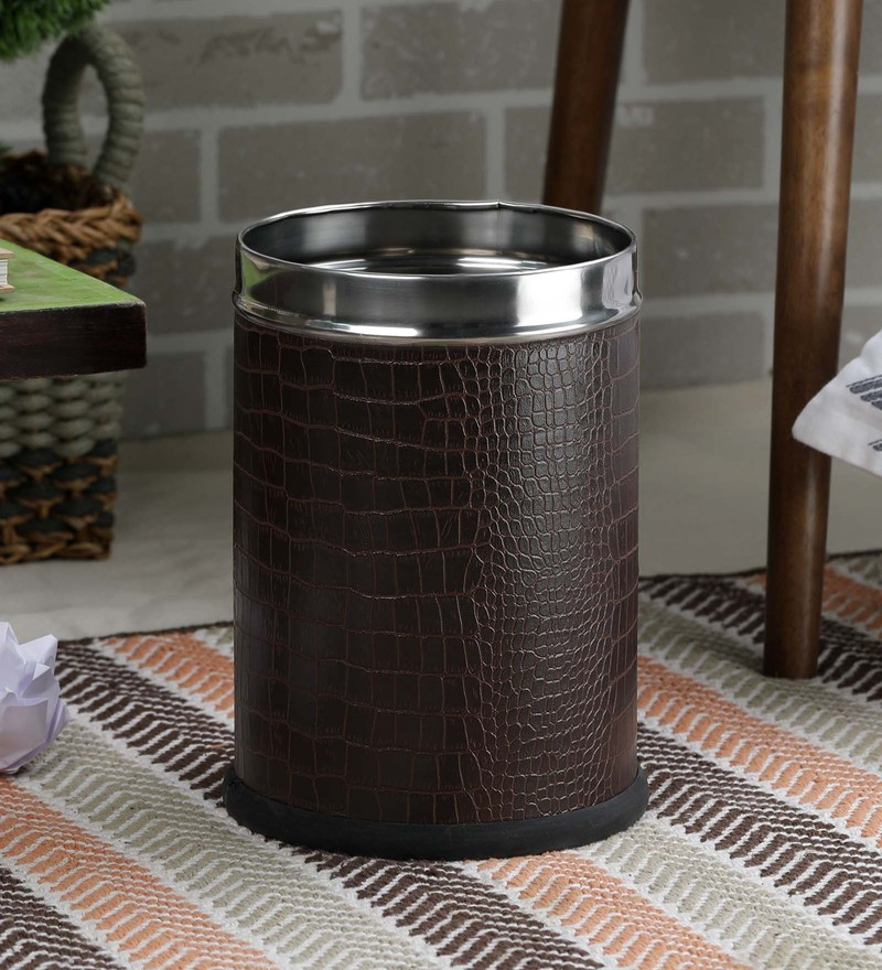SS Silverware Leather Covered Stainless Steel 5 L Brown Plain Open Dustbin