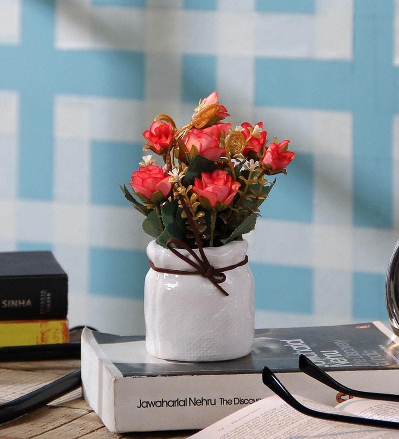 SS Silverware Multicolour Porcelain Artificial Lota Shape Flower with Pot