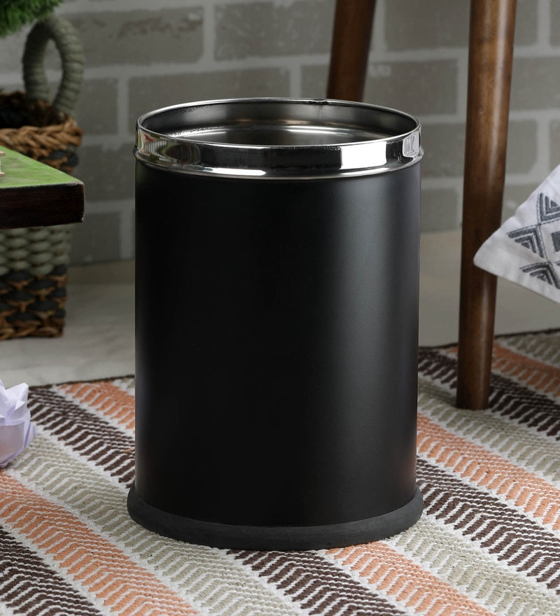 SS Silverware Stainless Steel 5 L Black Plain Open Dustbin