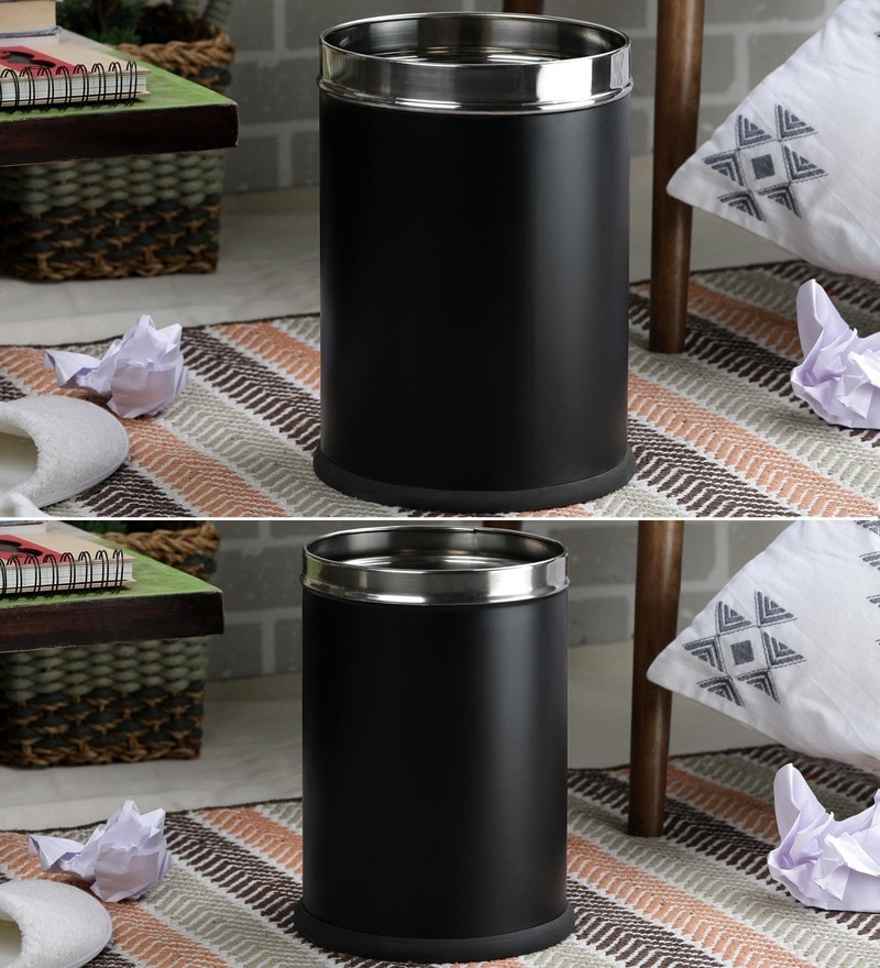 SS Silverware Stainless Steel Black Plain Open Dustbins - Set of 2