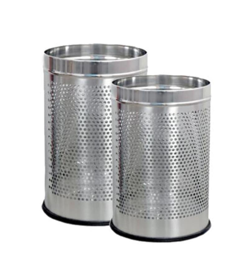 SS Silverware Perforated Open 5 L Dustbin - Set of 2