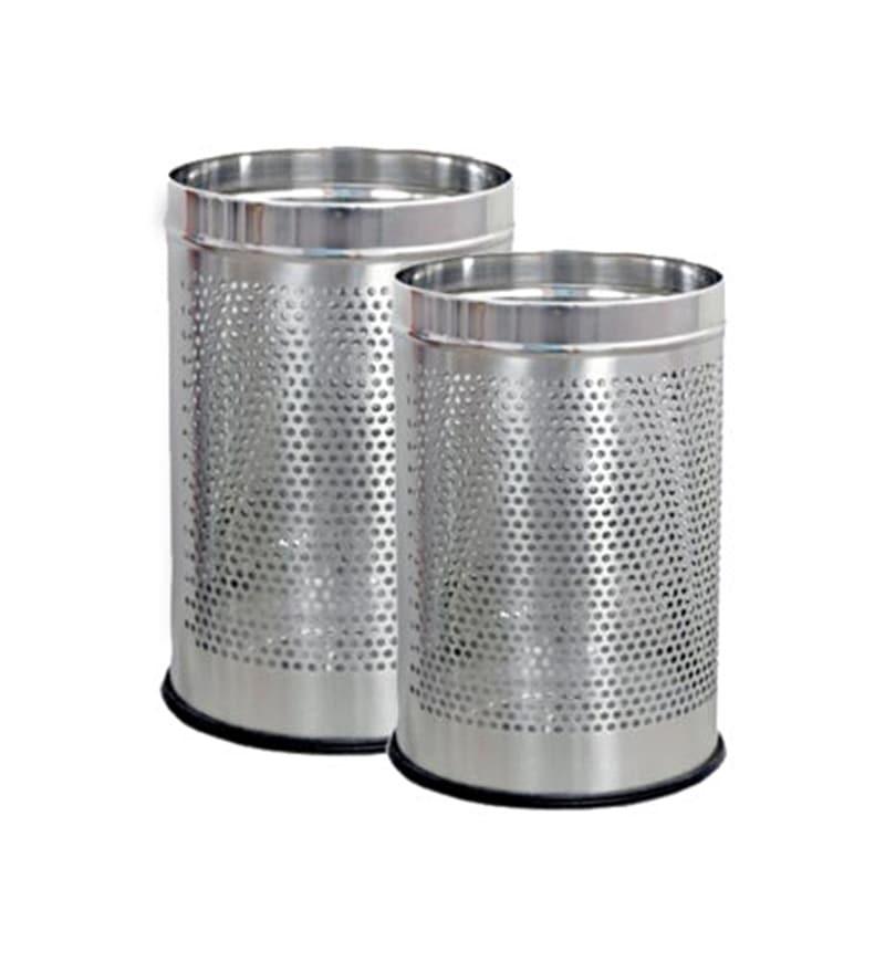 SS Silverware 5 L Open Dustbin - Set of 2