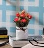 SS Silverware Multicolour Porcelain Artificial Flowers with White Lota Shape Flower Pot