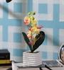 SS Silverware Multicolour Porcelain Artificial Flowers with White Square Shape Flower Pot