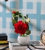 SS Silverware Multicolour Porcelain Artificial Rose Flowers with White Apple Shape Flower Pot