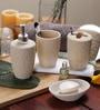 SS Silverware Off White Ceramic Bathroom Accessories - Set of 4