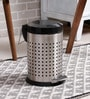 SS Silverware Perforated Black 7 L Pedal Dustbin with Lid