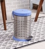 SS Silverware Perforated Blue 7 L Pedal Dustbin with Lid