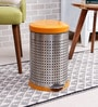 SS Silverware Perforated Orange 5 L Pedal Dustbin with Lid