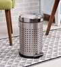 SS Silverware Perforated Silver 11 L Pedal Dustbin with Domb Design Lid