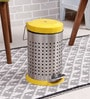SS Silverware Perforated Yellow 11 L Pedal Dustbin with Lid