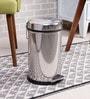 SS Silverware Plain Silver 7 L Pedal Dustbin with Domb Design Lid