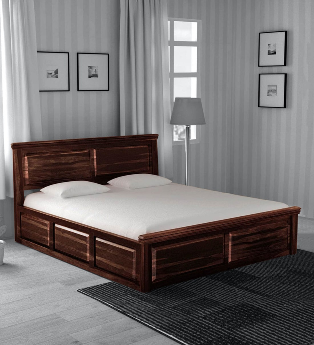 Buy Stanfield Solid Wood King Size Bed With Storage In Provincial Teak Finish Amberville By Pepperfry Online Traditional King Size Beds Beds Furniture Pepperfry Product