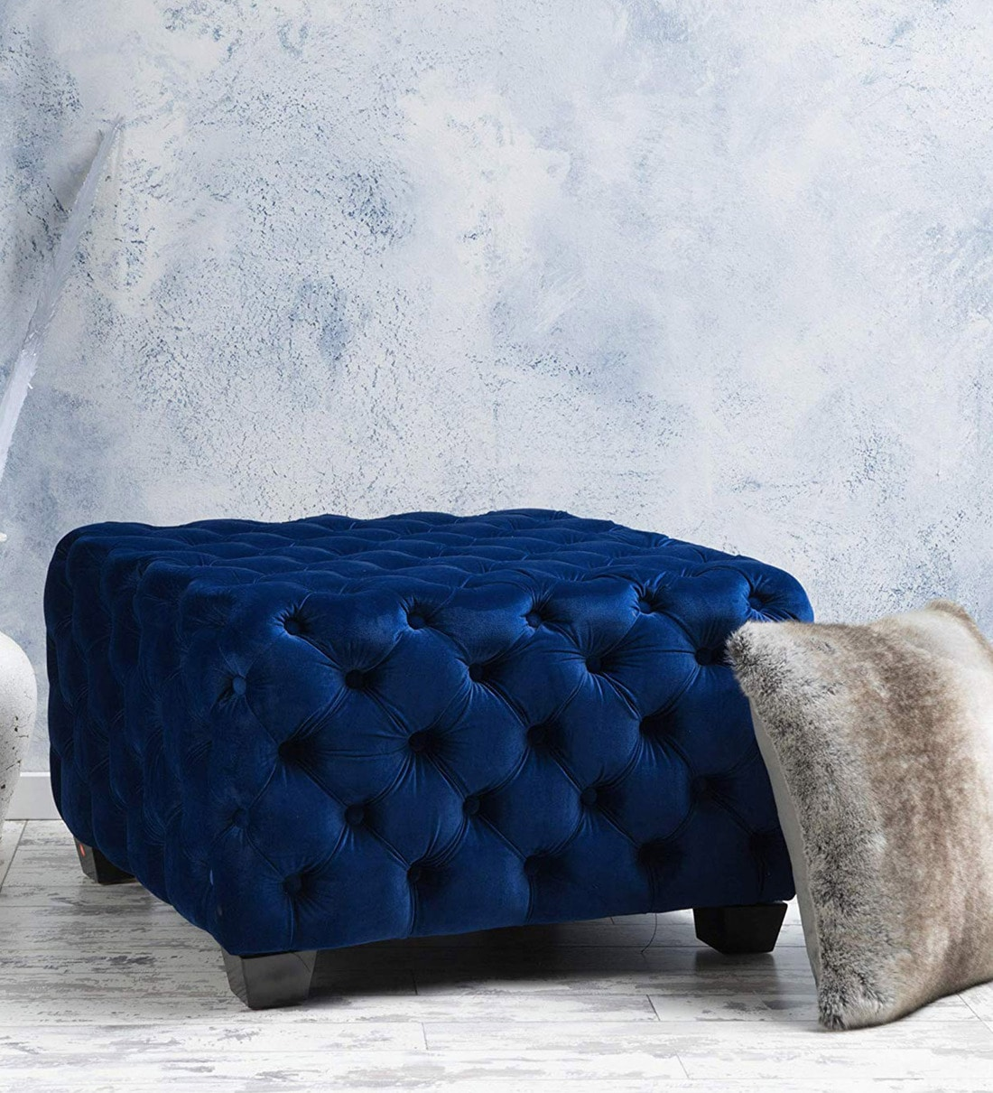 Buy Stylish Tufted Square Velvet Ottoman In Blue By Workspace Interio Online Ottomans Seating Furniture Pepperfry Product